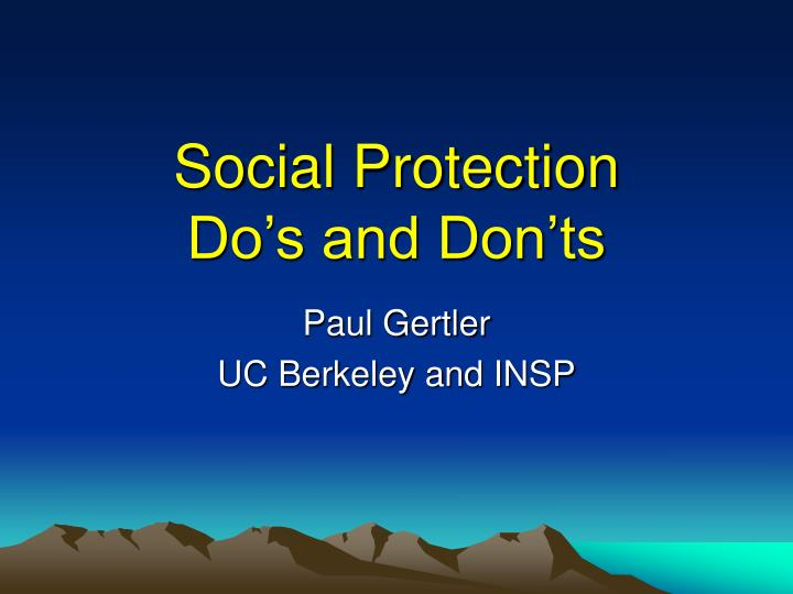 social protection do s and don ts n.
