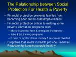 the relationship between social protection for health poverty