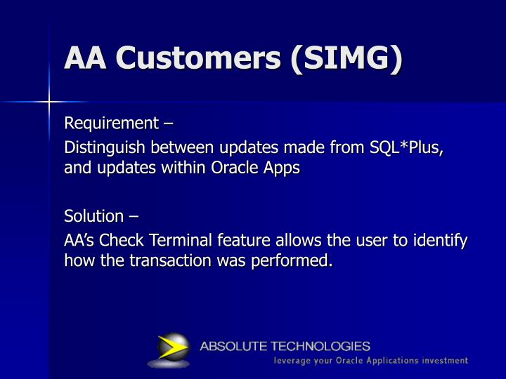 AA Customers (SIMG)