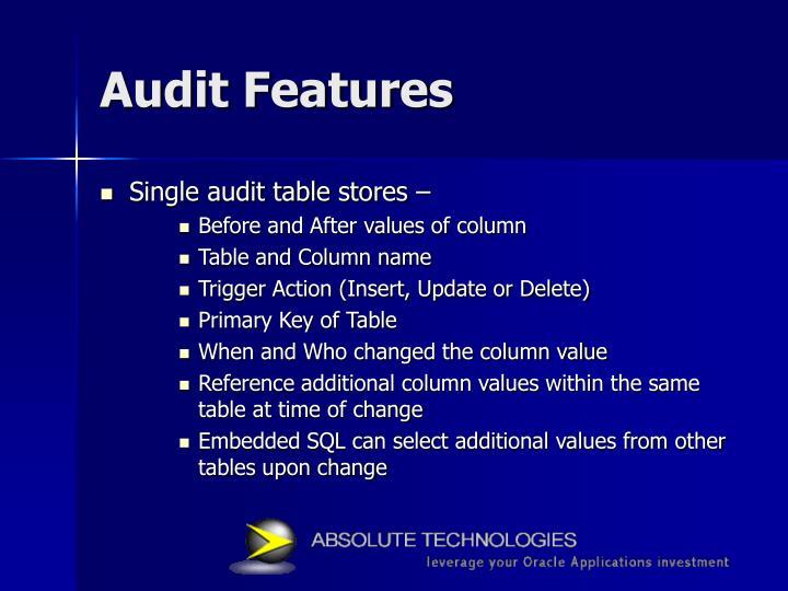 Audit Features