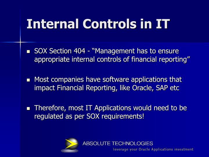Internal Controls in IT