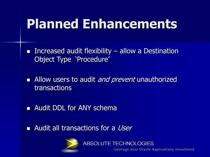 Planned Enhancements