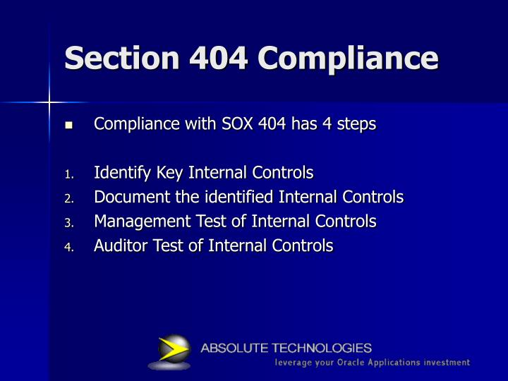 Section 404 compliance