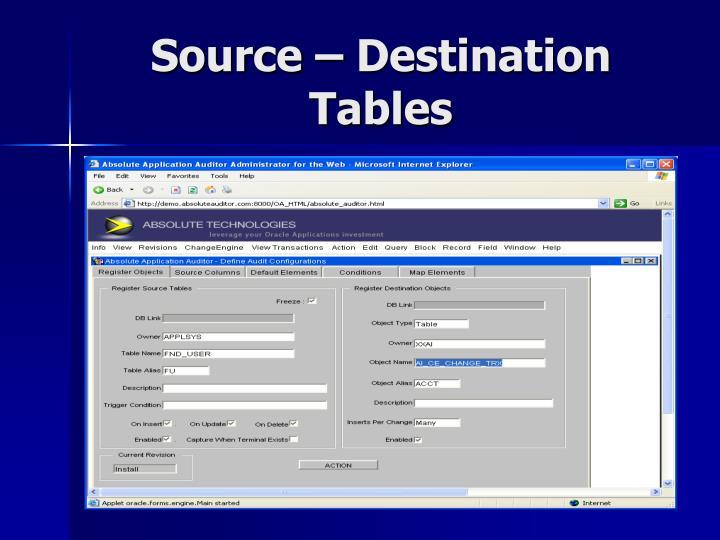 Source – Destination Tables
