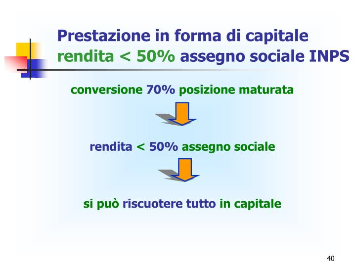 Prestazione in forma di capitale