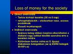 loss of money for the society