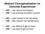 abstract conceptualization vs concrete experiences