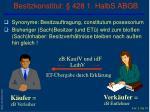 besitzkonstitut 428 1 halbs abgb