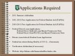 applications required