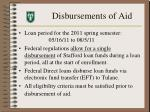 disbursements of aid