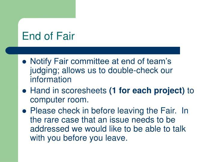 End of Fair