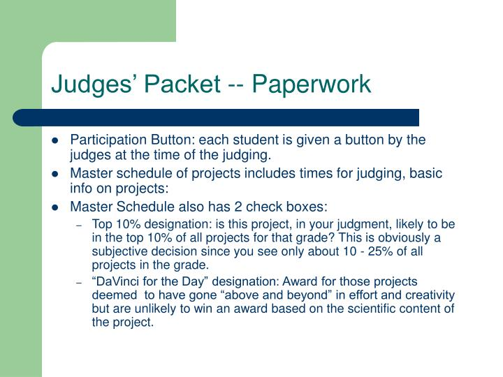 Judges' Packet -- Paperwork