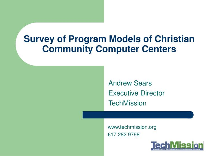 survey of program models of christian community computer centers n.