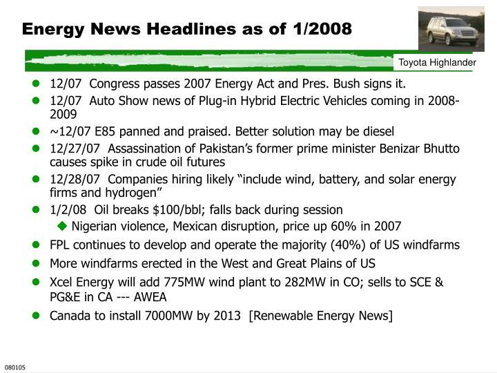 Energy News Headlines as of 1/2008