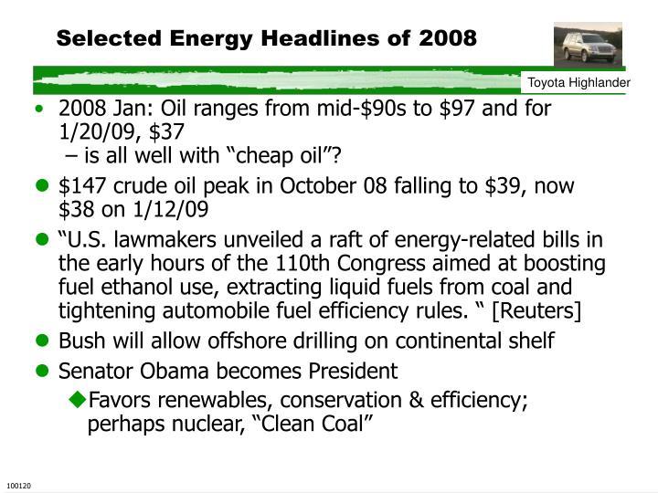 Selected Energy Headlines of 2008