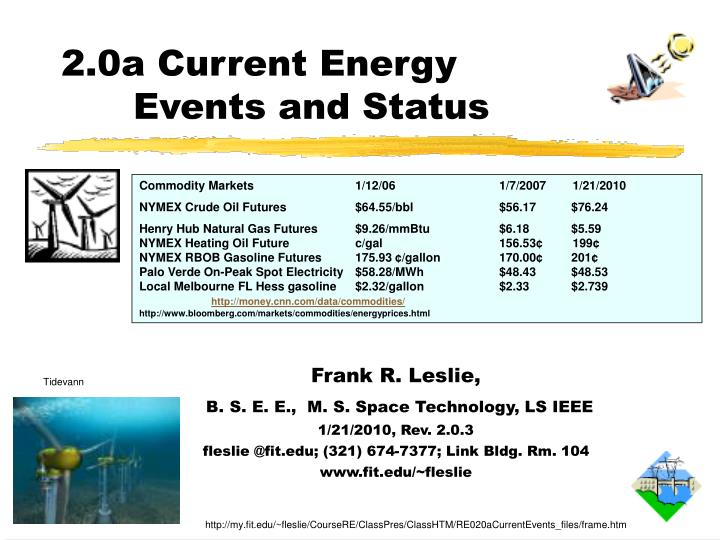 2.0a Current Energy Events and Status