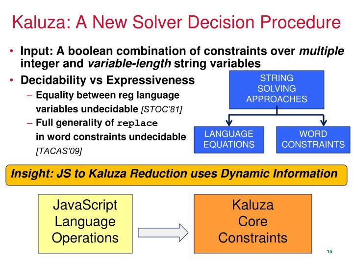 Kaluza: A New Solver Decision Procedure