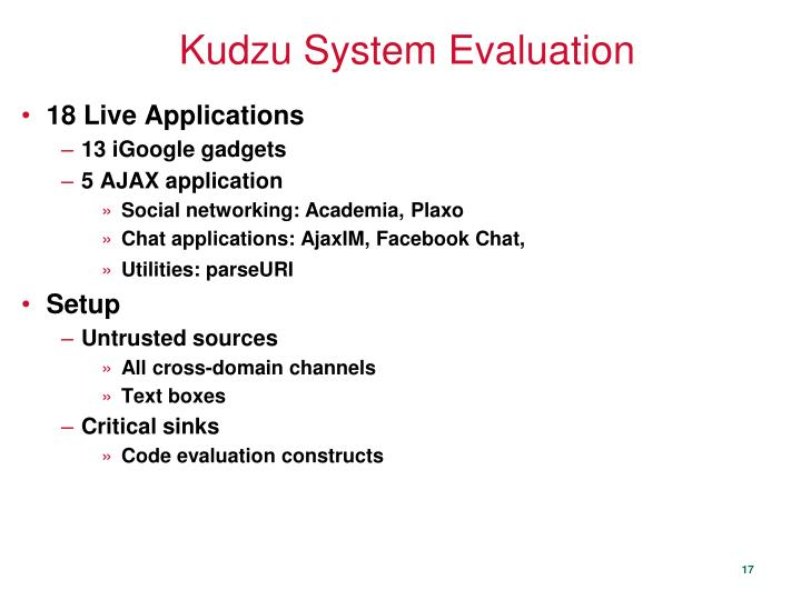 Kudzu System Evaluation