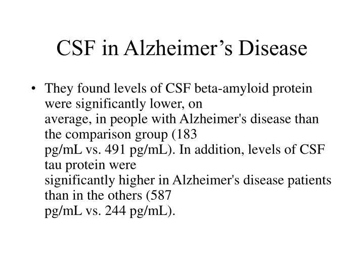 CSF in Alzheimer's Disease