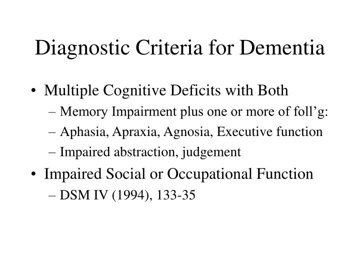 Diagnostic Criteria for Dementia