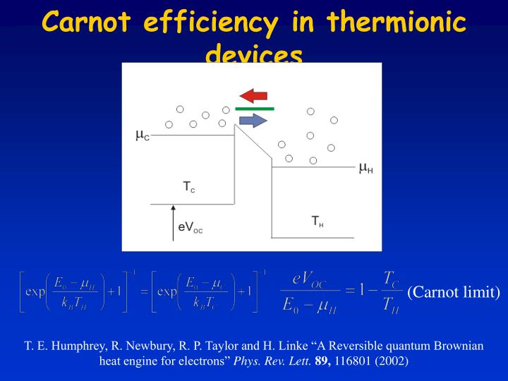 Carnot efficiency in thermionic devices