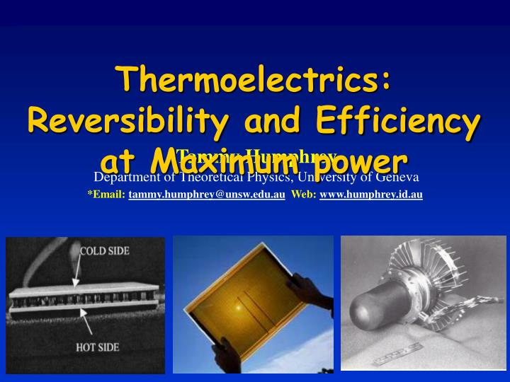 Thermoelectrics: Reversibility and Efficiency at Maximum power