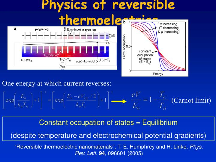 Physics of reversible thermoelectrics