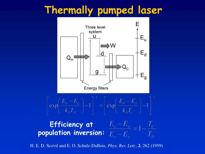 Thermally pumped laser