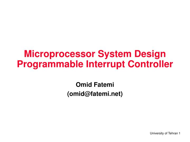 microprocessor system design programmable interrupt controller n.
