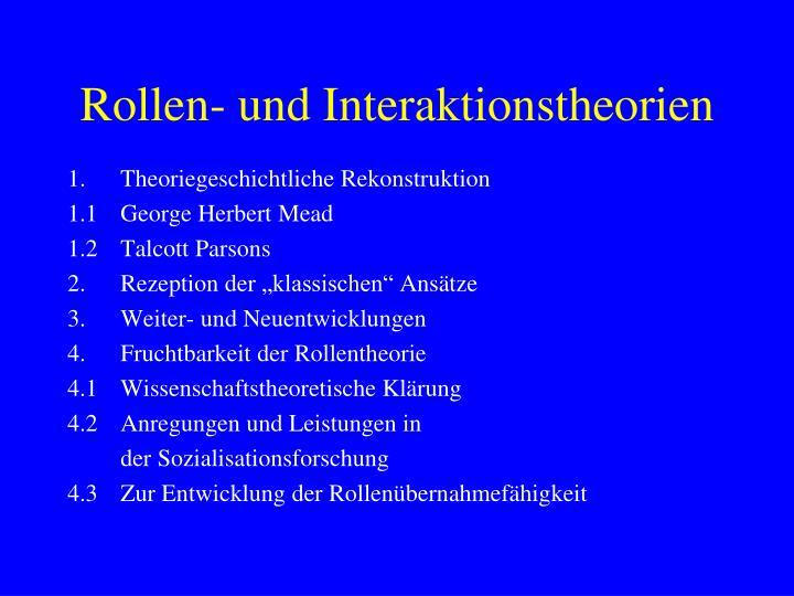 rollen und interaktionstheorien n.