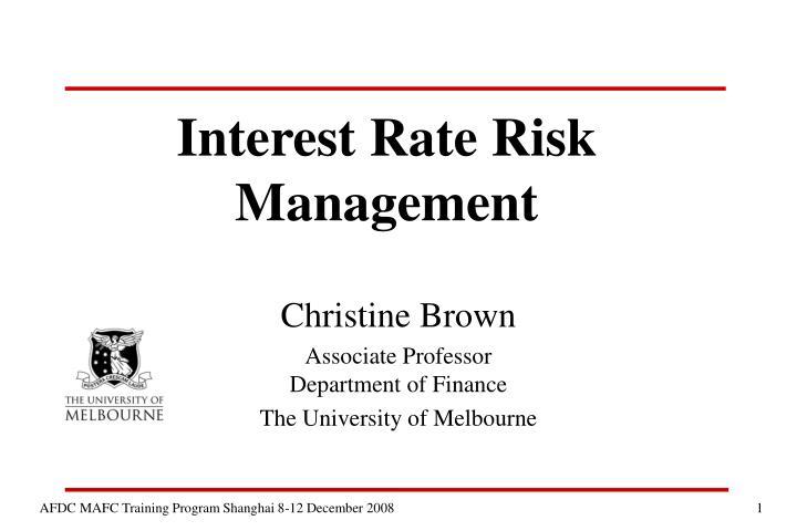 interest rate risk management n.