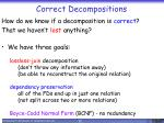 correct decompositions