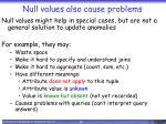 null values also cause problems