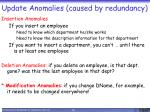 update anomalies caused by redundancy