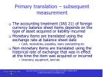 primary translation subsequent measurement