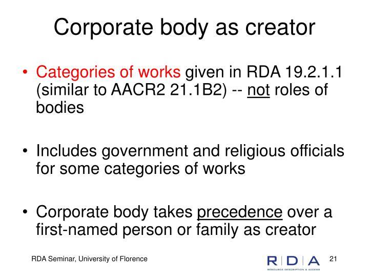 Corporate body as creator