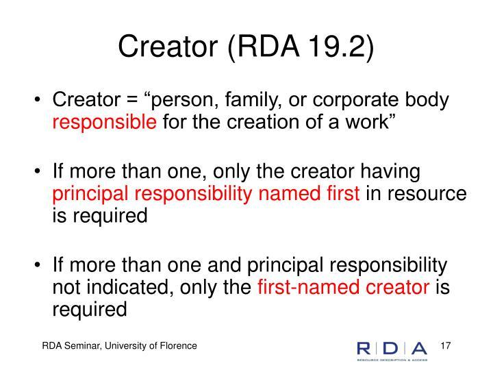 Creator (RDA 19.2)