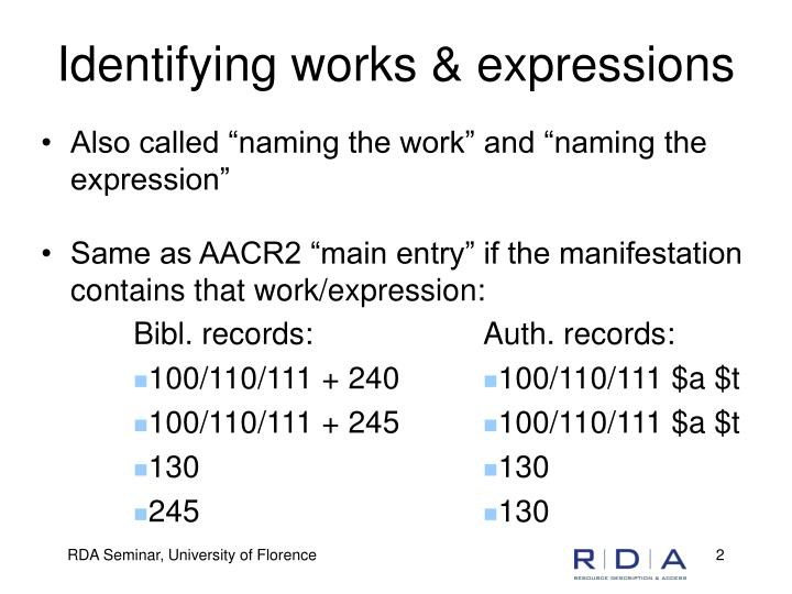 Identifying works expressions