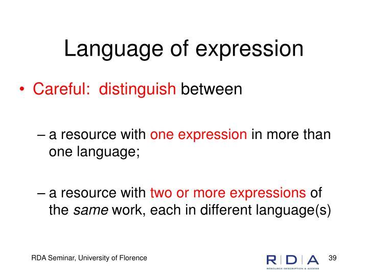 Language of expression