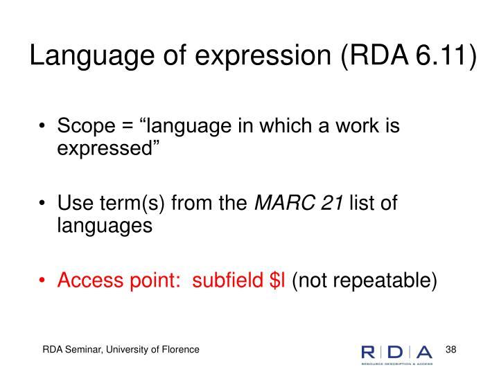 Language of expression (RDA 6.11)