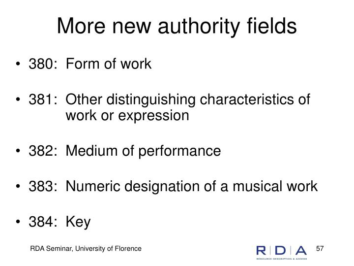 More new authority fields