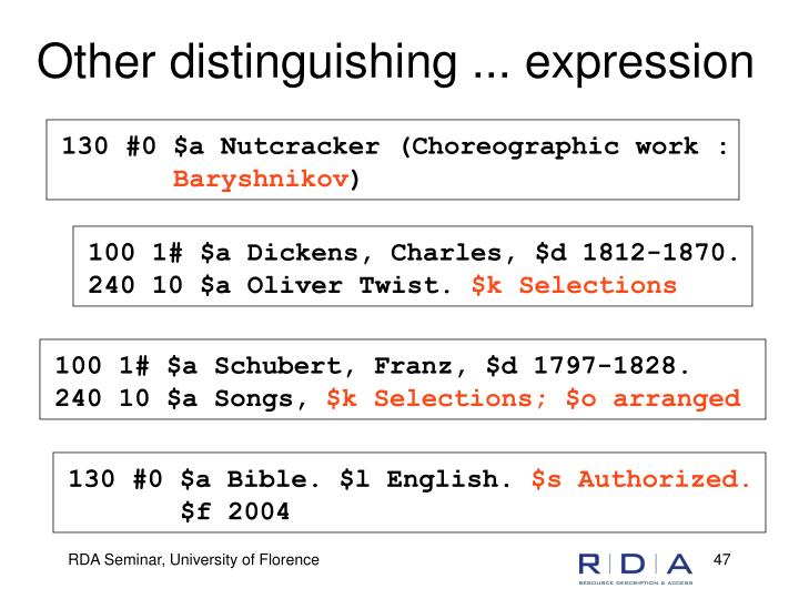 Other distinguishing ... expression