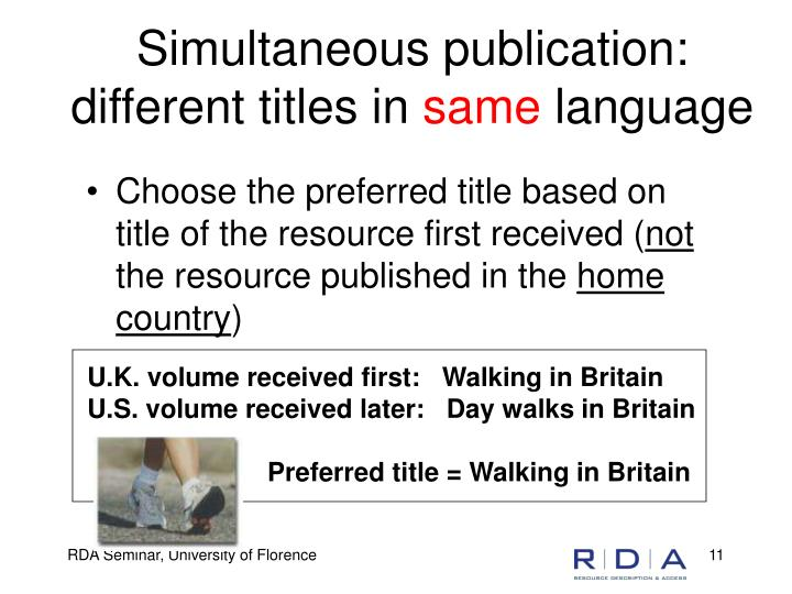 Simultaneous publication:  different titles in