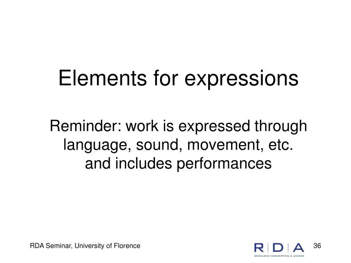 Elements for expressions