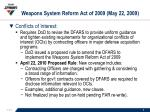 weapons system reform act of 2009 may 22 2009