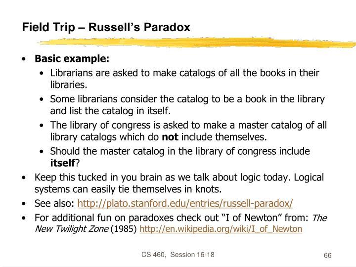 Field Trip – Russell's Paradox