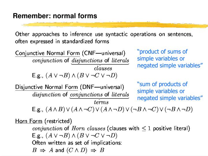 Remember: normal forms