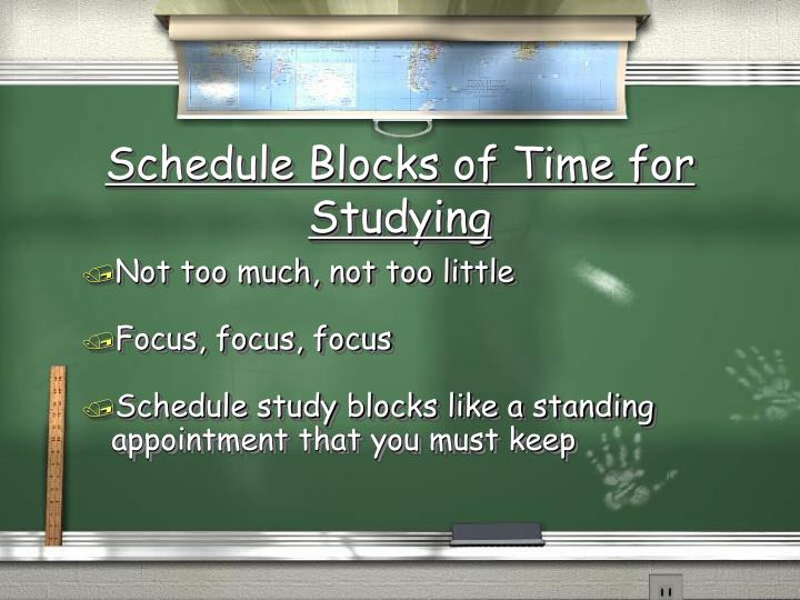 Schedule Blocks of Time for Studying