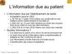 l information due au patient