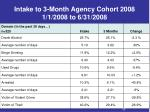 intake to 3 month agency cohort 2008 1 1 2008 to 6 31 2008